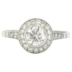 Revivalist Edwardian Old European Diamond Engagement Ring Platinum 3/4 Carat