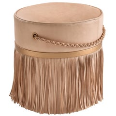 Revoar Fringes Ottoman Natural Leather 21st Century Off White