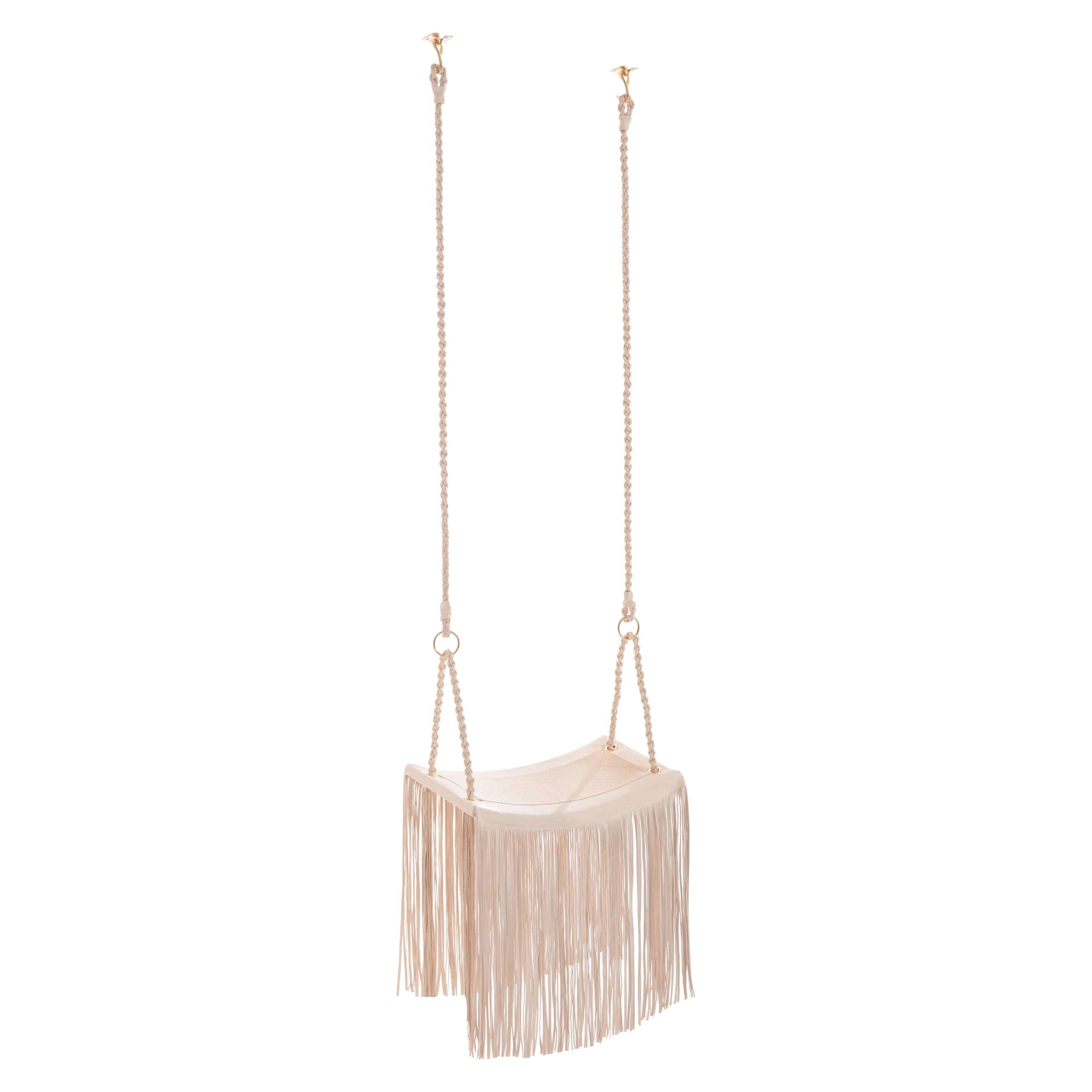 Revoar Hanging Swing Chair Natural Leather Indoor 21st Century Off-White