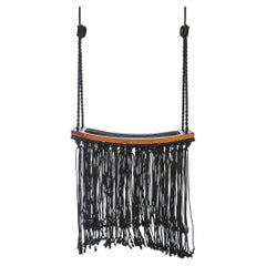 Revoar Hanging Swing Chair Outdoor Teak Wood Naval Rope, 21st Century