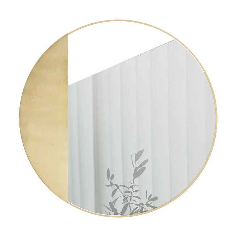 Italian Revolution N01 90, 21st Century Round Wall Mirror in Natural Brass For Sale