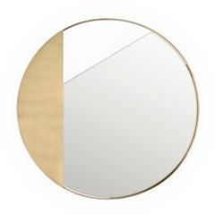 Revolution N01 90, 21st Century Round Wall Mirror in Natural Brass