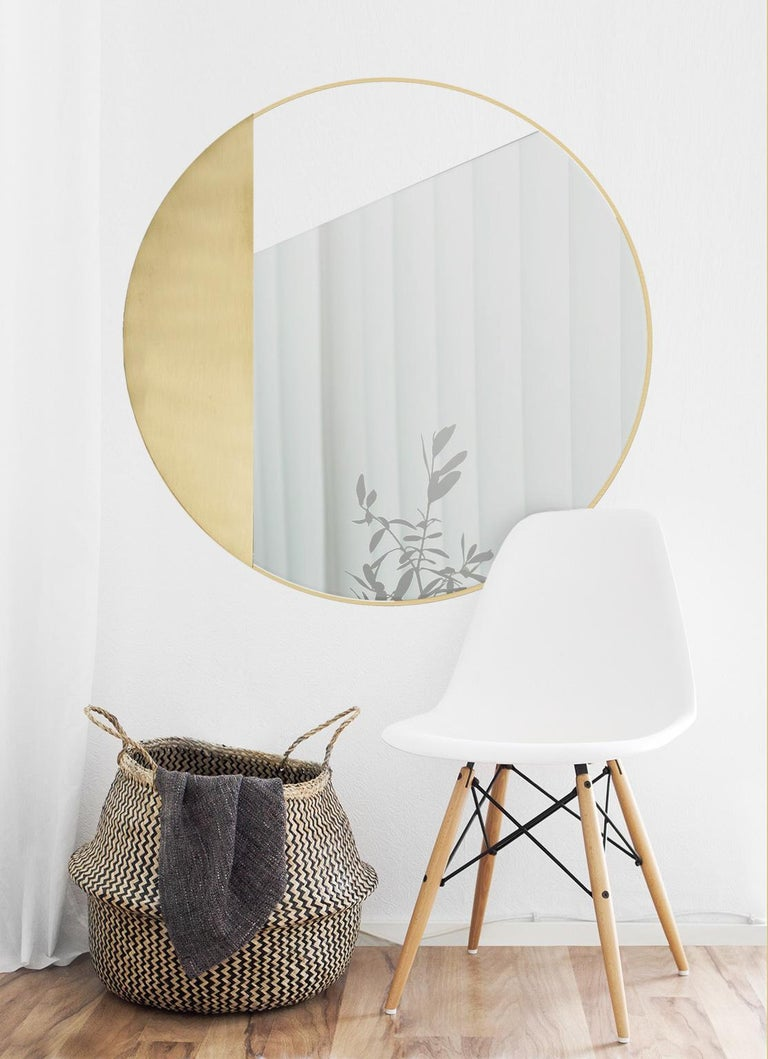 Other Revolution N01 90, 21st Century Round Wall Mirror in Natural Brass For Sale