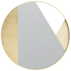 Revolution 90 N.02, 21st Century Round Wall Mirror in Natural Brass