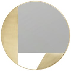 Revolution 90 N.03, 21st Century Round Wall Mirror in Natural Brass