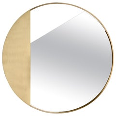Revolution N.01, 21st Century Round Wall Mirror in Natural Brass