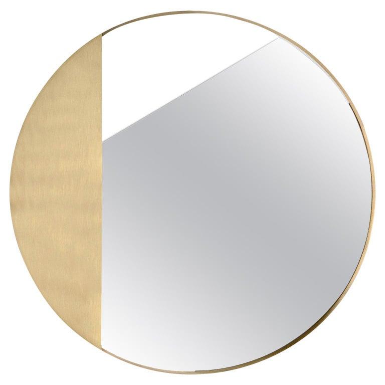 Revolution N01 90, 21st Century Round Wall Mirror in Natural Brass For Sale