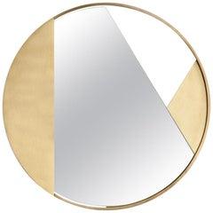 Revolution N02 55, 21st Century Round Wall Mirror in Natural Brass