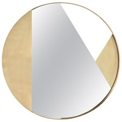 Revolution N02 90, 21st Century Round Wall Mirror in Natural Brass