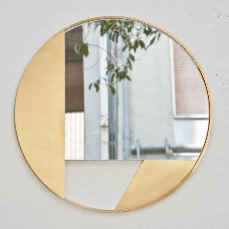 Italian Revolution N03 55, 21st Century Round Wall Mirror in Natural Brass For Sale