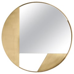 Revolution N.03, 21th Century Round Wall Mirror in Natural Brass