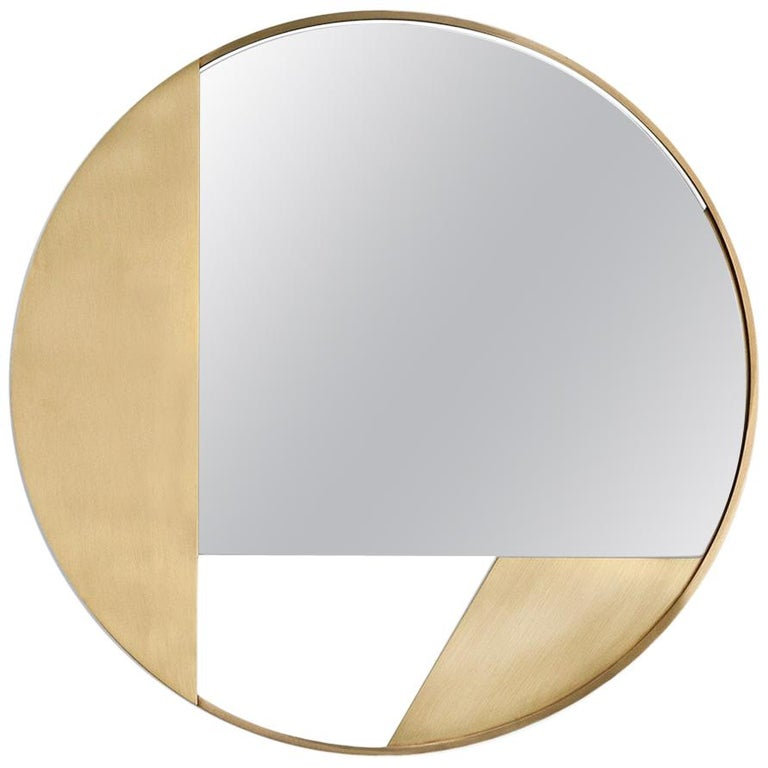 Revolution N03 55, 21st Century Round Wall Mirror in Natural Brass For Sale