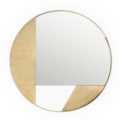 Revolution N03 90, 21st Century Round Wall Mirror in Natural Brass