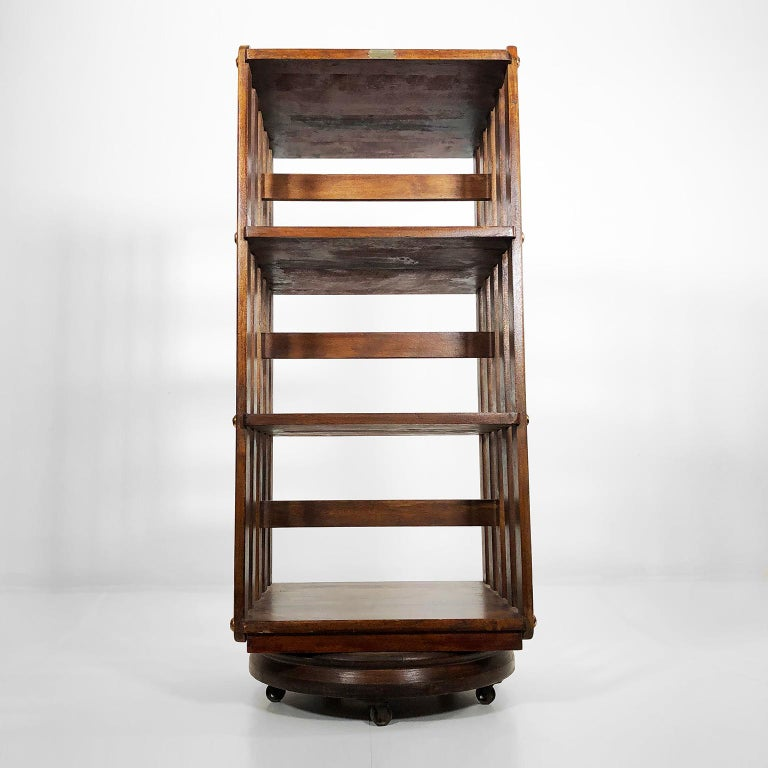 Amazing revolving bookcase by Sargent MFG Co. Muskegon, Mich. revolving system patented in 1880, circa 1900.