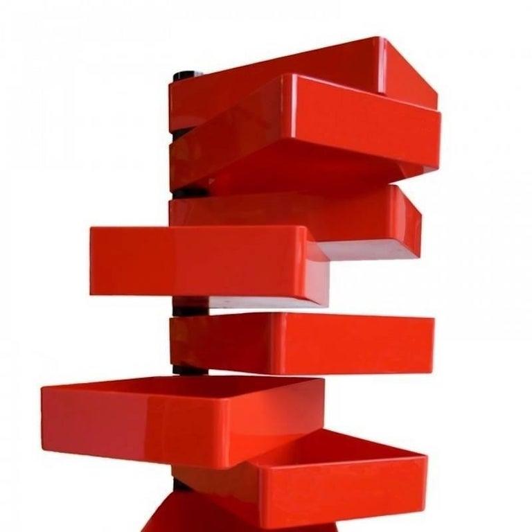 Designed in 1970 by Shiro Kuramata for Cappellini, the revolving cabinet stands 72.75