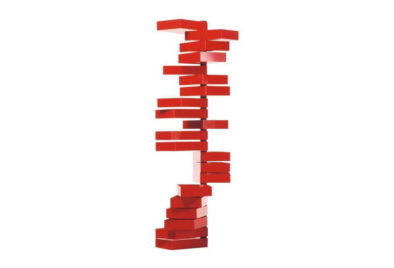 Contemporary Revolving Cabinet by Shiro Kuramata with 20 Drawers in Red Polished Acrylic For Sale