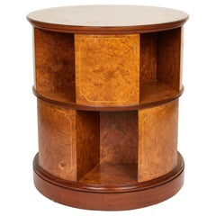 Revolving Circular Library Bookcase of Bird's-Eye Maple