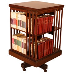 Revolving Mahogany Bookcase from the End of the 19th Century with Iron Base