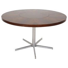 Revolving Rosewood and Metal Round Dining Table by Emü, Germany, 1960s