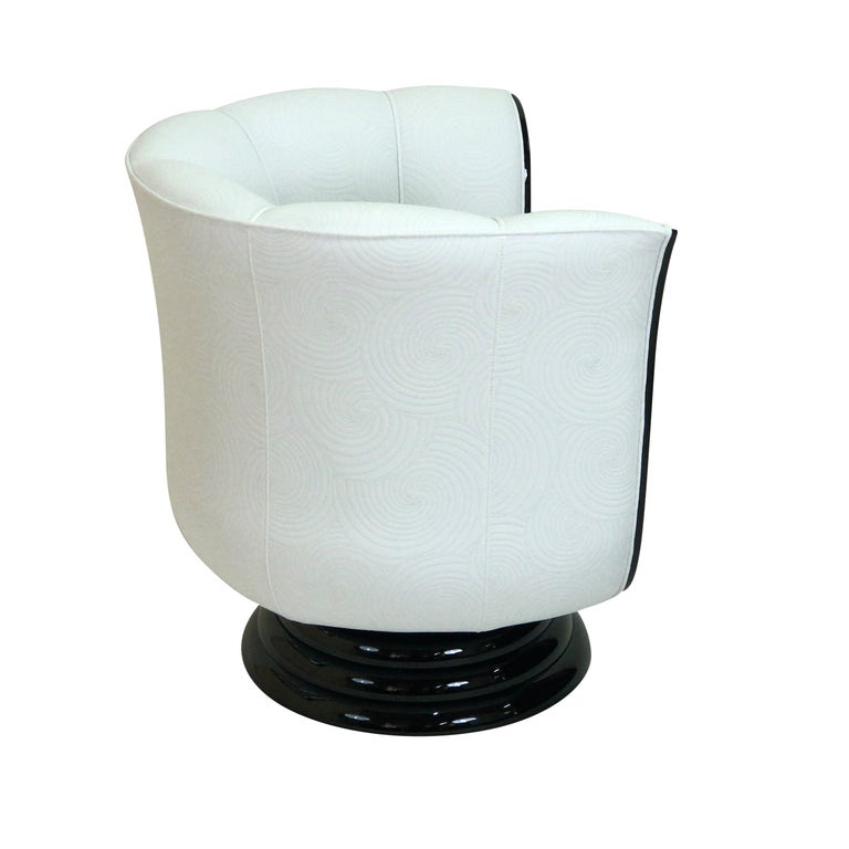 Blackened Revolving White Art Deco Style Tulip Shaped Club Chair with Macassar Panels For Sale