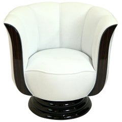 Revolving White Art Deco Style Tulip Shaped Club Chair with Macassar Panels