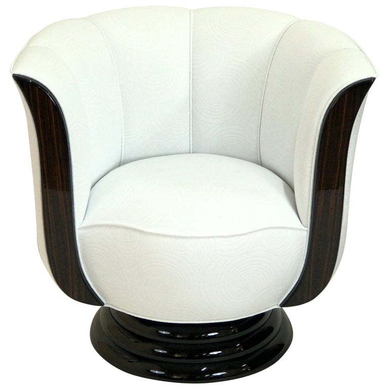 Revolving White Art Deco Style Tulip Shaped Club Chair with Macassar Panels For Sale