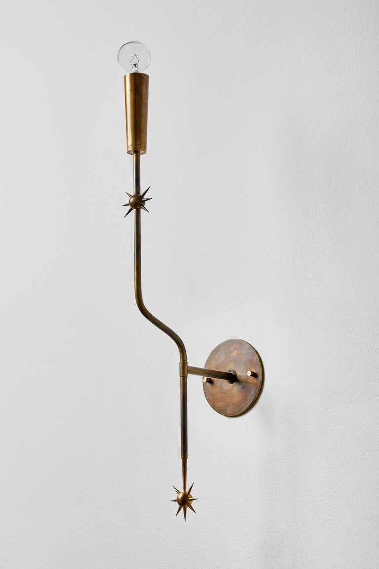 Patinated Rewire Custom Brass Sconce For Sale