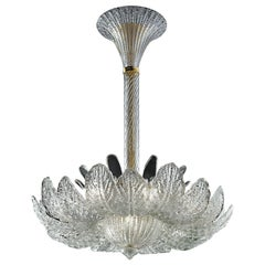 Rex 5359 Suspension Lamp in Glass and Polished Chrome, by Barovier&Toso