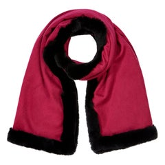 Rex Rabbit Fur Shawl Scarf in Berry Pink - Brand New