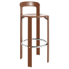 Rey Barstool with Back by Bruno Rey, Mid-Century Modern, Color Vintage Chestnut