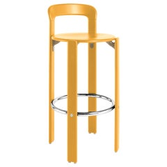 Rey Barstool with Back, Mid-Century Modern, Color Vintage Beech, Bruno Rey, 1971