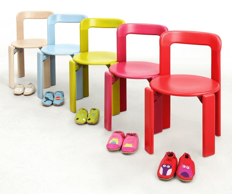 Hungarian Rey Junior Set, Kids Table and Chairs in Candy, Designed by Bruno Rey, in Stock For Sale