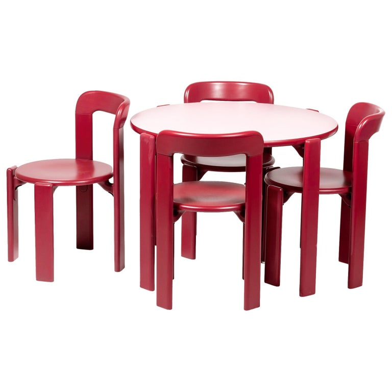 Rey Junior Set, Kids Table and Chairs in Candy, Designed by Bruno Rey, in Stock For Sale