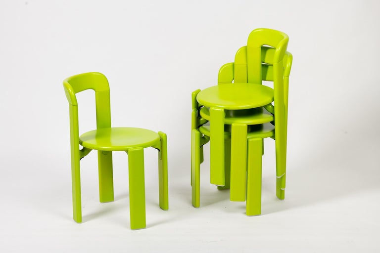 Mid-Century Modern Rey Junior Set, Kids Table and Chairs in Green, Designed by Bruno Rey, in Stock For Sale