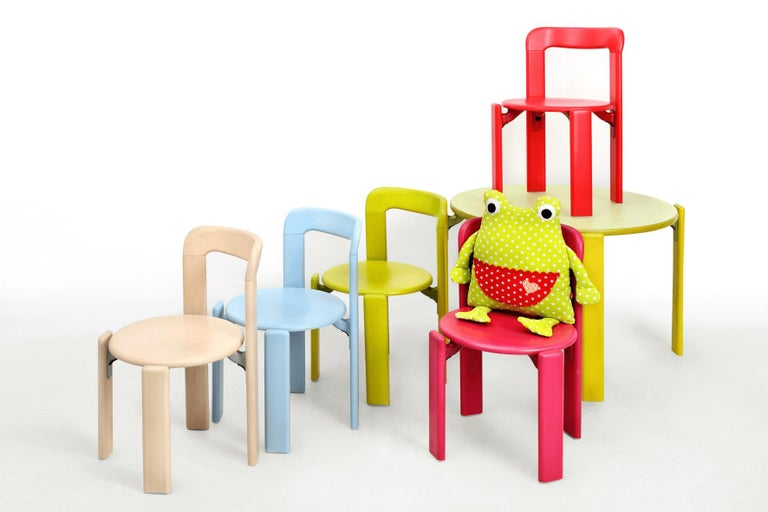Hungarian Rey Junior Set, Kids Table and Chairs in Green, Designed by Bruno Rey, in Stock For Sale