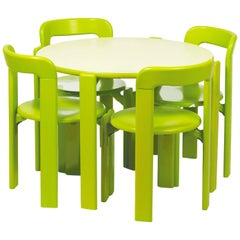 Rey Junior Set, Kids Table and Chairs in Green, Designed by Bruno Rey, in Stock