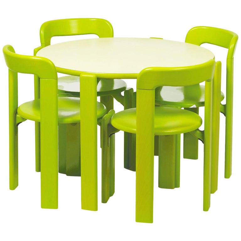 Rey Junior Set, Kids Table and Chairs in Green, Designed by Bruno Rey, in Stock For Sale