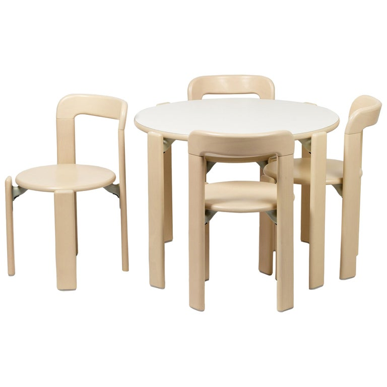 Rey Junior Set, Kids Table and Chairs in Maple, Designed by Bruno Rey, in Stock For Sale