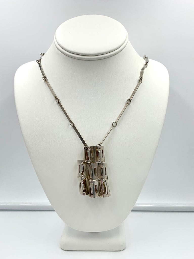 Modernist Rey Urban for Age Fausing Midcentury Brutalist Necklace Sterling Silver Denmark For Sale
