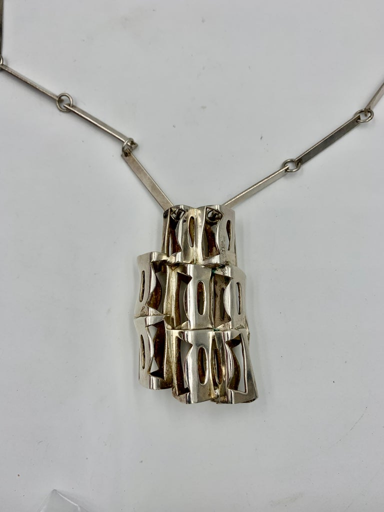 Rey Urban for Age Fausing Midcentury Brutalist Necklace Sterling Silver Denmark In Good Condition For Sale In New York, NY