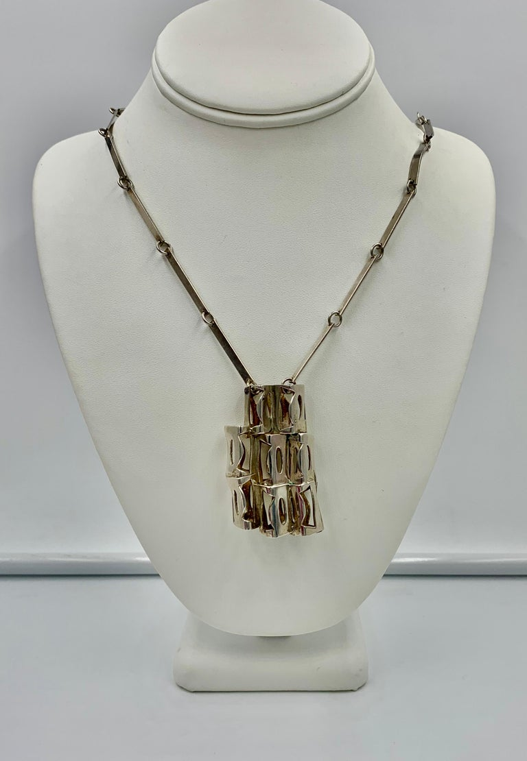 Women's or Men's Rey Urban for Age Fausing Midcentury Brutalist Necklace Sterling Silver Denmark For Sale