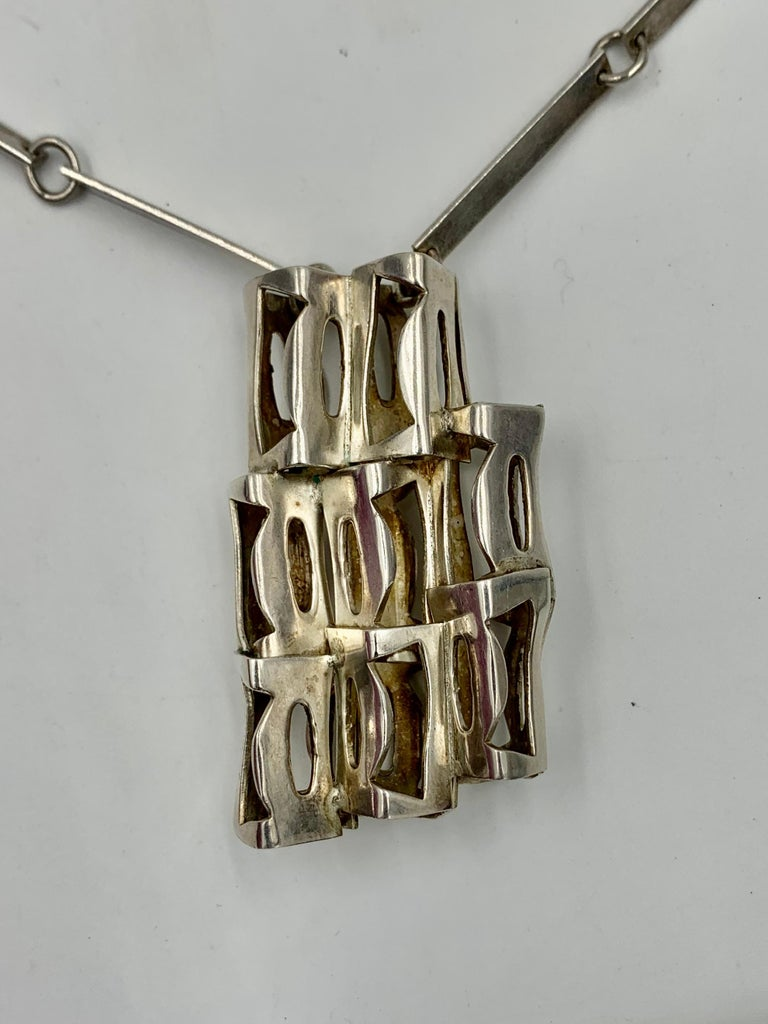 Rey Urban for Age Fausing Midcentury Brutalist Necklace Sterling Silver Denmark For Sale 1