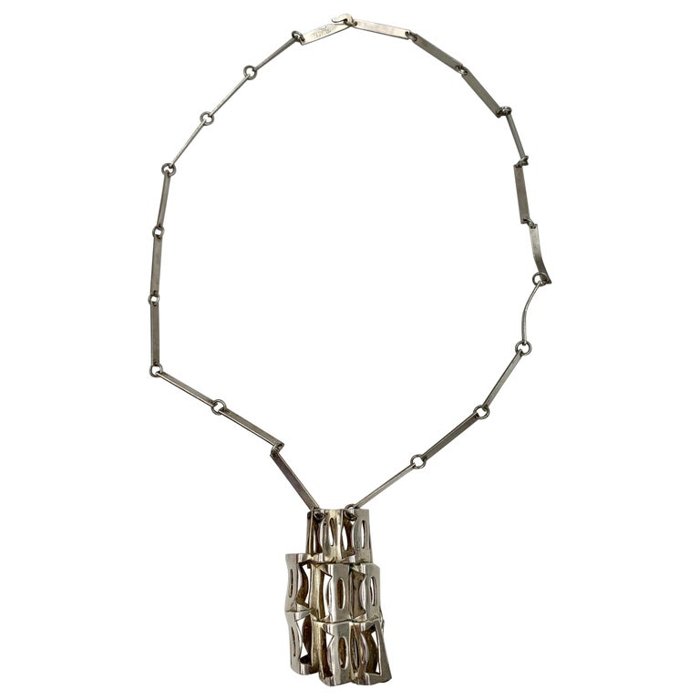 Rey Urban for Age Fausing Midcentury Brutalist Necklace Sterling Silver Denmark For Sale