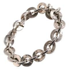 Rey Urban Sterling Silver Hand Beaten Link Chain Bracelet
