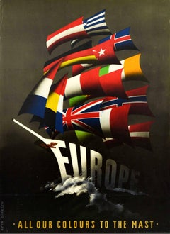 Original Vintage Poster Europe All Our Colours To The Mast ERP Marshall Plan