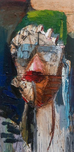 Female Mask III - Diptych 2019 green, red, blue, pink,white, sienna 60 X 30