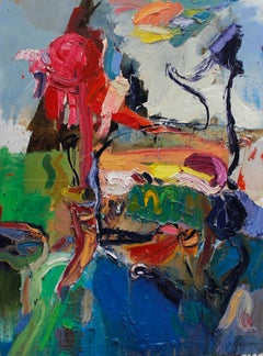 Outdoor Experiences II Green, blue, yellow, pink 48 X 36