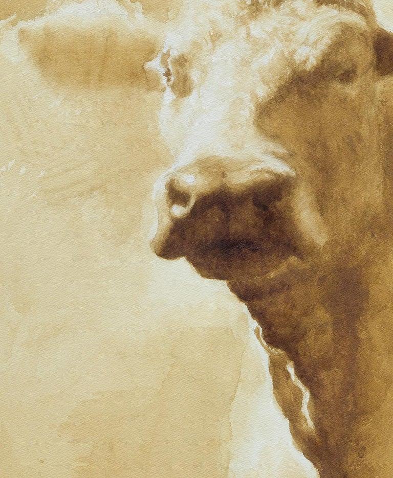 Queen Yolanda- coffee painting framed 45 X34 - Painting by Reynier Llanes
