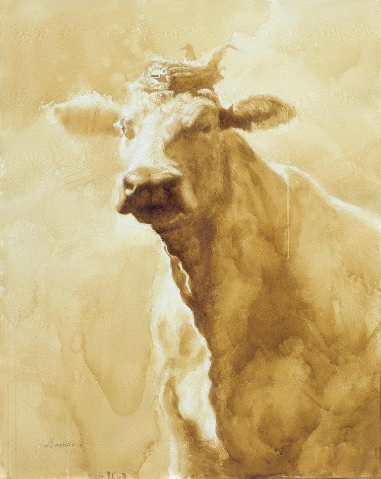 Reynier Llanes Animal Painting - Queen Yolanda- coffee painting framed 45 X34
