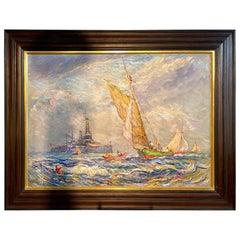 Reynolds Beal Impressionist Oil on Canvas USS Utah Rockport Mass